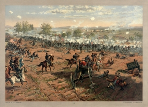 """Battle of Gettysburg"", L. Prang & Co. print of the painting ""Hancock at Gettysbug"" by Thure de Thulstrup, showing Pickett's Charge"