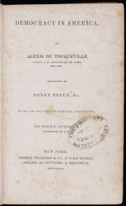 Title Page of the first American edition of Tocqueville's classic, published in 1838.