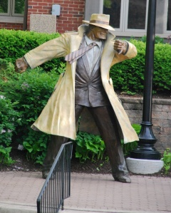Dick Tracy patrols the Naperville Riverwalk.