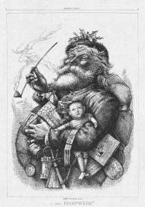 This Nast illustration circulated in Harper's Weekly during the Christmas season of 1880, although appearing on an issue postdated as January 1, 1881.