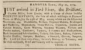 Advertisement for the sale of indentured servants, Virginia Gazette, 1774