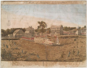 The Battle of Lexington, as sketched by Ralph Earl and engraved by Amos Doolittle, 1775