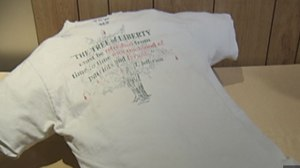 Timothy McVeigh's t-shirt is now on display at the Oklahoma City Memorial and Museum.