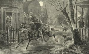 """Paul Revere's Ride,"" wood engraving by Charles Green Bush,  New York Public Library"