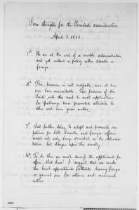 Page 3 of Seward's April 1, 1861 memorandum to President Lincoln