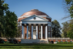 The Rotunda, modeled on the Roman Pantheon, overlooks Jefferson's
