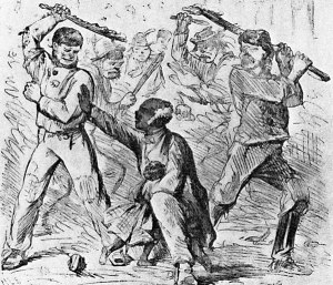 This sketch of a purported scene from the New York City Draft Riots appeared in Harper's Weekly later in 1863
