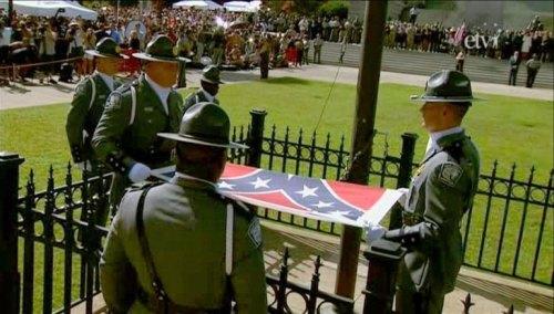 lowering battle flag
