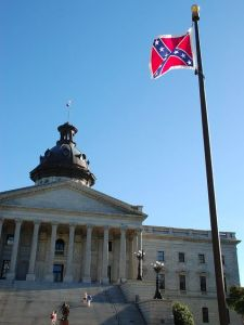 The Confederate battle flag flying outside the South Carolina capitol