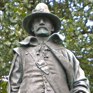 This statue of William Bradford, by Cyrus Dallin, stands in Pilgrim Memorial State Park in Plymouth, MA>