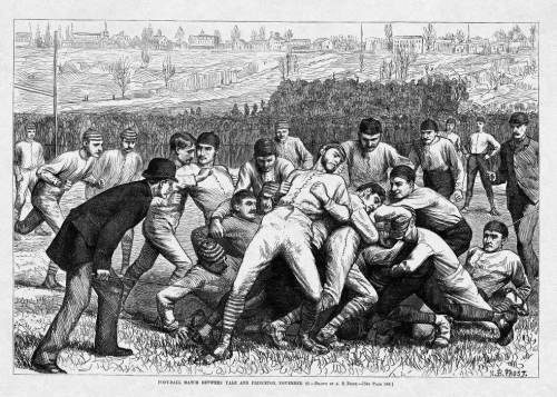 """Football Match between Yale and Princeton,"" Harper's Weekly, 1879. In 1876 the newly formed Intercollegiate Football Association held its championship game on Thanksgiving Day in New York City, and in short order the annual Thanksgiving Day contest had evolved into the country's premier sporting event, drawing crowds upwards of forty thousand by the early 1890s."