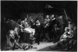 """""""The Pilgrims Signing the Compact, on Board the Mayflower,"""" engraving after a painting by Tompkins Matteson, 1859. Shortly after dropping anchor in Cape Cod in November 1620, forty-one adult males gathered in the great cabin of the Mayflower to sign the statement we now remember as the Mayflower Compact."""