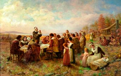 """First Thanksgiving at Plymouth,"" Jeannie Brownscombe, 1914.  On the eve of WWI, Brownscombe's imaginative recreation of the ""First Thanksgiving"" helped link Thanksgiving with the Pilgrims 1621 celebration in the public mind.  Although full of historical inaccuracies, the artist did rightly portray the feast as a large, public, outdoor event."