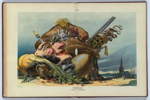 """Thanksgiving: A Study in Proportion,"" Udo Keppler, 1912. BY the early twentieth century, numerous commentators feared that Thanksgiving had become nothing more than a day for pleasure and self-indulgence. This Puck cartoon shows a pile of large items representing the pleasures of the holiday—a football, golf clubs, a shotgun, a theater mask and, of course, a turkey—towering over a dark and probably empty church in the background."