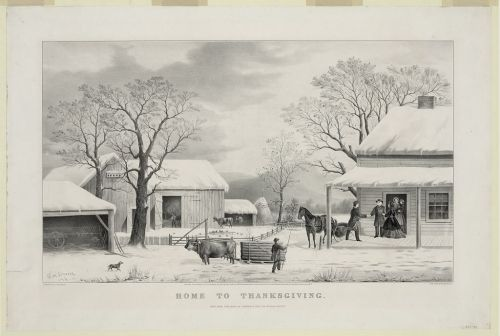 """Home to Thanksgiving,"" George H. Durrie, 1861. As late as the Civil War, homecoming was probably the most common theme of Thanksgiving images. For supporters of the holiday, Thanksgiving was ""supremely the home day,"" with ""the gathering together of the family its most charming feature."""