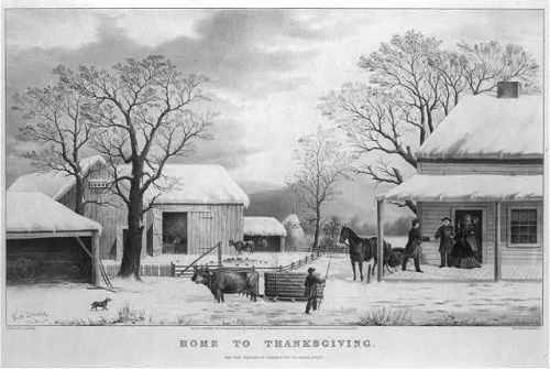 """Home to Thanksgiving,"" George H. Durrie, 1861. As late as the Civil War, few visual representations of Thanksgiving linked the holiday with the Pilgrims. Thanksgiving was ""supremely the home day,"" with ""the gathering together of the family its most charming feature."""