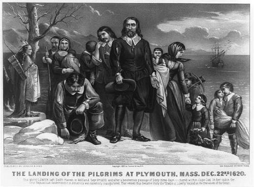 """The Landing of the Pilgrims at Plymouth,"" Currier & Ives, 1876."