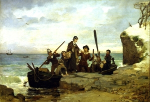 """The Landing of the Pilgrims,"" Henry A. Bacon, 1877. Although William Bradford's history makes clear that there were no females among the initial landing party at Plymouth in December 1621, this imaginative recreation includes several and also gives credence to a local tradition that teenager Mary Chilton was the first Pilgrim to come ashore. Note as well that the beach at Plymouth is predominantly sandy, not rocky as the artist suggests."