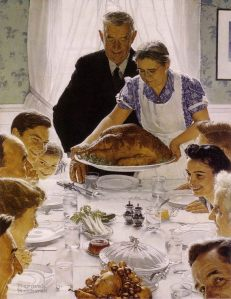 """Freedom from Want,"" Norman Rockwell, 1943. This now iconic portrayal of a family Thanksgiving meal graced the cover of the Saturday Evening Post in the midst of WWII."