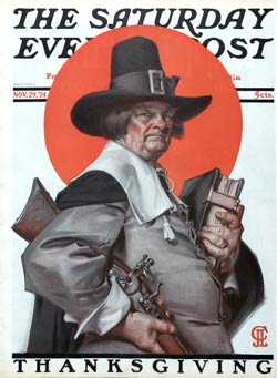By the early 1920s the link between Thanksgiving and the Pilgrims was widely assumed, as this 1924 cover of the Saturday Evening Post attests.