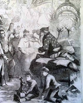 """Santa Claus in Camp"" (detail), from the cover of Harper's Weekly, January 3, 1863"