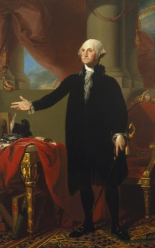 "Gilbert Stuart completed this portrait of the first president the year of Washington's ""Farewell Address"""