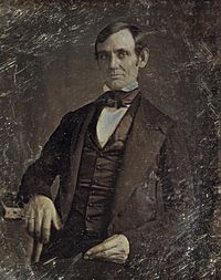 This is the earliest known picture of Lincoln, taken in 1846, eight years after he addressed the Young Men's Lyceum of Springfield, Illinois.