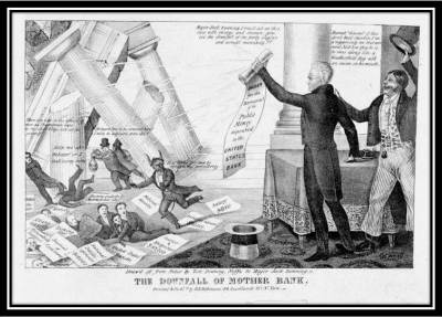 This contemporary cartoon depicts Jackson bringing down the pillars of power and privilege through his war against the bank. Near the center of the picture, fleeing Jackson's righteous wrath, is the president of the Bank of the United States, sporting horns and cloven hooves.