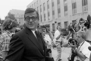 Colson arriving at federal district court in Washington, D.C. to be sentenced for obstruction of justice in connection with the Watergate scandal, June 1974