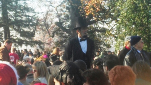 """Abraham Lincoln"" working the crowd before the program began."